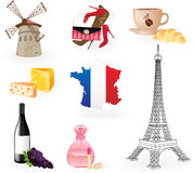 Collection  icons of symbols of France. Royalty Free Stock Photography