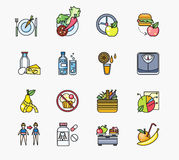 Collection of Icons on Theme Diet Stock Photo