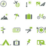 Collection of icons for travel, tourism and active. Recreation. All elements are on separate layers. Possible to easily change the colors and size without Stock Image