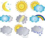Collection  icons with the weather phenomena Royalty Free Stock Photography