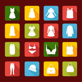 Collection Icons of  Women Fashion  clothing Stock Photography