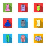 Collection of icons of womens clothing. Various women`s clothes for work, walking, sports. Women clothing icon in set Stock Photography