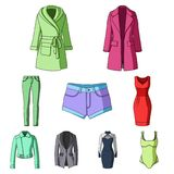 Collection of icons of womens clothing. Various women`s clothes for work, walking, sports. Women clothing icon in set Royalty Free Stock Photos