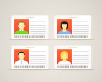 Collection of id cards. With the cute persons Royalty Free Stock Images