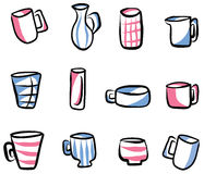 Collection of Illustrated Cups and Mugs Stock Photography