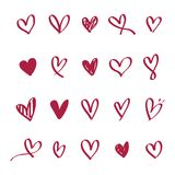 Collection of illustrated heart icons Stock Images