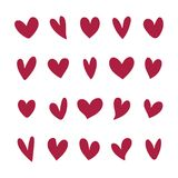Collection of illustrated heart icons Stock Illustration