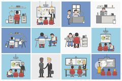 Collection of illustrated office workers in various daily situat. Ions Royalty Free Stock Images