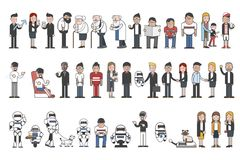 Collection of illustrated people and robots Royalty Free Stock Images