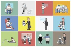Collection of illustrated people and robots Stock Images