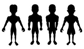 Collection of cartoon silhouettes of atheletes vector illustration