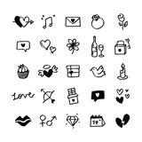 Collection of illustrated valentine`s icons Royalty Free Stock Photos