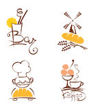 Collection illustration -- cafes and bakeries Royalty Free Stock Photo