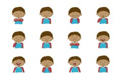 Collection of 12 illustrations of African-American boy showing different emotions. African-American boy showing different emotions. Collection of 12 hand drawn royalty free illustration