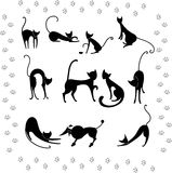 Collection illustrations of black cats Royalty Free Stock Photography