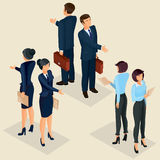 Collection illustrations of business people front and rear. Set of isometric men and women in business suits front and rear, isolated business people figures Stock Photos