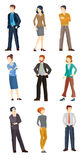 Collection illustrations of business people. Collection illustrations of business men and women in different poses. Flat icons Stock Photos