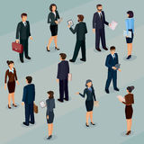 Collection illustrations of business people. Set of isometric men and women in business suits, isolated business people figures Stock Photos