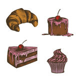 Collection of illustrations of cakes , croissants. Made ​​in retro style thumbnail on a white background royalty free illustration