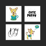 Collection of illustrations with cute dogs and handdrawn lettering quotes. Royalty Free Stock Photography