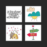 Collection of illustrations with cute dogs and handdrawn lettering quotes. Royalty Free Stock Images
