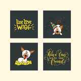 Collection of illustrations with cute dogs and handdrawn lettering quotes. Stock Photo