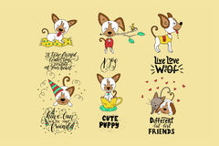 Collection of illustrations with cute dogs and handdrawn lettering quotes. Vector cards for kids and for all who love dogs Royalty Free Stock Image