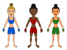 Cartoon of diverse female MMA fighters royalty free illustration