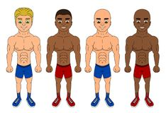Cartoon of diverse young fighters vector illustration
