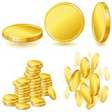 Collection of illustrations, icons and gold coins Stock Photography