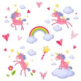 Collection of illustrations with a pink unicorn Royalty Free Stock Image