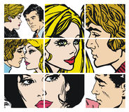 Collection of ilustrations with couples in love Stock Images