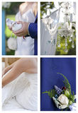 Collection of images associated with wedding ceremony. Set of images associated with wedding ceremony: outdoor ceremony decoration, details of wedding wear Stock Photo