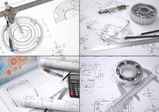 Collection of images on engineering topics Royalty Free Stock Image
