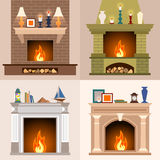 A collection of images of the four fireplaces. A set of four different fireplaces in flat style. Vector illustration Stock Images