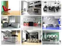 Collection of images of modern office Stock Photography