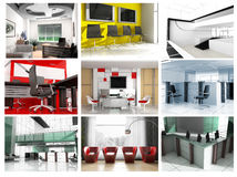 Collection of images of modern office Royalty Free Stock Photo