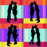 Collection of images of a pregnant couple royalty free illustration