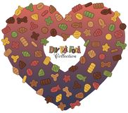 Dry pet food in the heart. Collection of images on the theme of dry food for cats and dogs. Vector snacks for pets grouped in the form of a heart Royalty Free Stock Photography