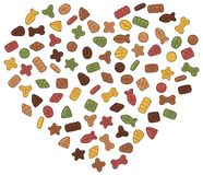 Dry pet food is grouped in the heart. Collection of images on the theme of dry food for cats and dogs. Vector snacks for pets grouped in the form of a heart Stock Photos