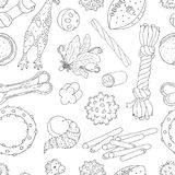 Pet toys pattern, sketches. Collection of images on the theme of toys for cats and dogs. Vector pattern balls and toys for pets, sketches Royalty Free Stock Photography
