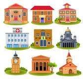 Collection of Important buildings of the city  on a white background. Collection of Important buildings of the city like town hall, hospital, police, school Stock Photos