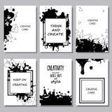 Collection imprimable de cartes à main levée créatives Texte tiré par la main Image stock