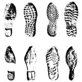 Collection  imprint soles shoes  black  silhouette Royalty Free Stock Photo
