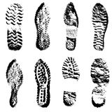Collection  imprint soles shoes  black  silhouette Stock Images