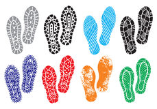 The collection of a imprint soles shoes Royalty Free Stock Images