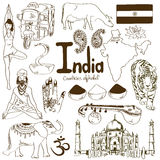 Collection of India icons Royalty Free Stock Images