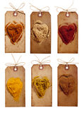 Collection of indian powder spices on vintage tags stock photography