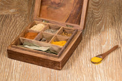 Collection of Indian spices in wooden box Royalty Free Stock Image