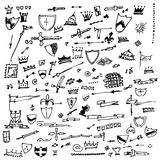Collection of individual hand drawn elements Stock Photo